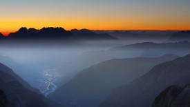 Dawn on Auronzo village and lake, Cadore