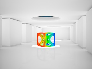 Colorful Cube in a White Room Wallpaper