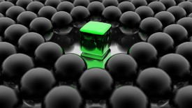 Green Cube With Black Spheres