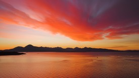 Sunset over the Cuillin Mountains on the Isle of Skye from Kyle of Lochalsh.