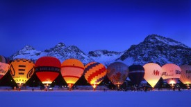 Hot-air balloon, balloon, at night, night, Arosa,