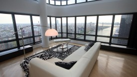 Glass Room Interior Design White Sofa