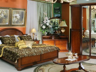 Bedroom Room Bed Wardrobe Carpet Chandelier Table Service Kettle Dresser Curtain Bedspreads Pillows