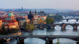 Bridges Over the Vltrava River Prague Czech-Republic