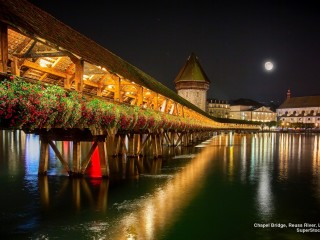 Chapel Bridge Reuss River Lucerne Switzerland