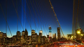 Tribute in Light From the Brooklyn Bridge, New York City