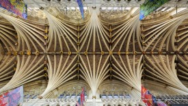 Vaulted Ceiling in the Nave of St. Peter's Cathedral, Exeter, Devon, England