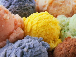 Colorful Scoops of Ice Cream