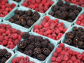Blackberries and Raspberries Farmer Market Chicago Illinois