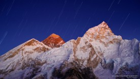 View of Mount Everest and Nuptse at Dusk
