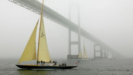Sailing Under the Newport Bridge in Fog, Rhode Island