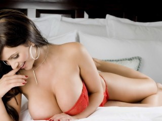 Denise Milani Busty Red Hot Wallpaper