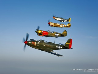 Bell P-63 Kingcobra, Curtiss P-40N Warhawk, and P-51D Mustang
