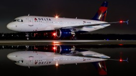 Delta Airbus A319 At Night
