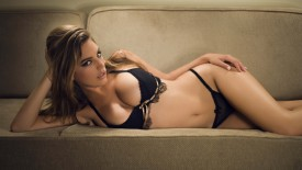 Kelly Brook Black Lingerie On Sofa