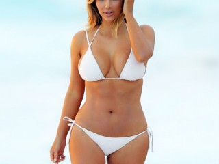 Kim Kardashian In White Bikini At Beach