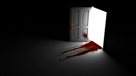 Blood On Door & Floor Wallpaper