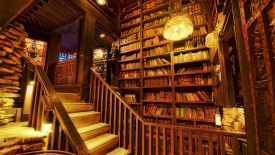 Interior Wooden Library Old Classic Vintage Era