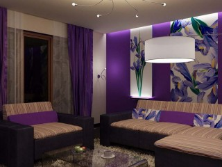 Purple Color Living Room With Large Size Lamp