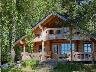 Wooden House In Forest Cabin Woods