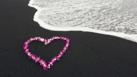 Heart Shaped Lei on a Black Sand Beach