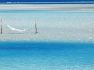 Hammock Hanging in Shallow Water, Maldives, Indian Ocean