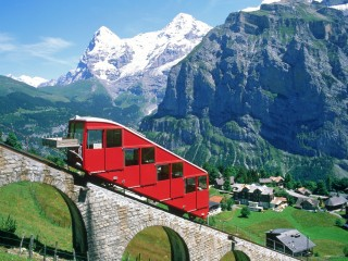 Mountain Railway in the Alps, Switzerland