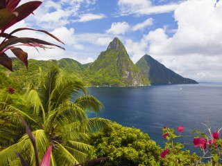 Petit and Gros Pitons Across Soufriere Bay, St. Lucia