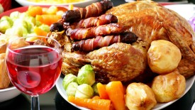 Roasted Chicken With Wine On Table