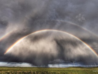 Double Rainbow Over a Wind Farm