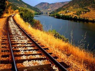 Railway Tracks Alongside Lake