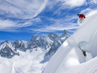 Skiing Near Chamonix-Mont-Blanc, France