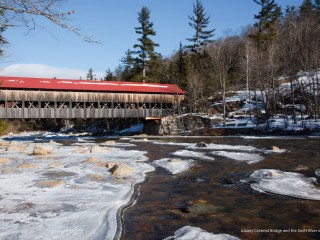 Albany Covered Bridge and the Swift River in Winter, New Hampshire