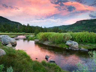 Carson River at Sunset, Near South Lake Tahoe, California