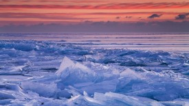 Winter Dawn, Lake Superior, Near Duluth; Minnesota