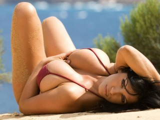 Denise Milani Red Bikini Nude At Beach
