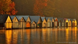 Boathouses at Dawn, Lake Panache, Greater Sudbury, Ontario