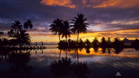 Sunset Reflections, Tahiti, French Polynesia