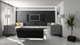 Interior Stylish Home Theater Black And White Theme