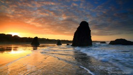 Sunrise and Sea Stacks, Bandon, Oregon